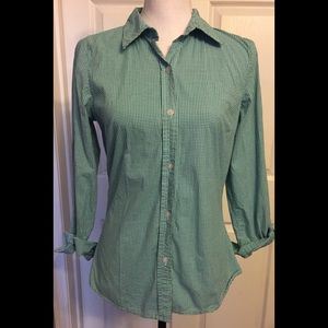GAP Stretch Gingham Button Down Top